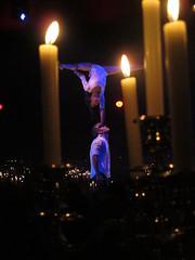 Candlelit acrobats (D_Snapper) Tags: show amsterdam canon amsterdamzuidoost candles candle circus duo powershot flame handstand acrobats palazzo candlelit highiso g12 kaars kaarsen arenaboulevard iso1250 kaarslicht dinnershow sooc sheneabooth duomaintenant nicolasbesnard
