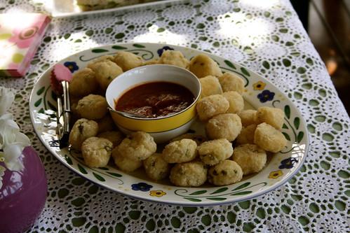 Lemon Risotto Balls with Tomato Basil Sauce