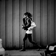 On Richards St. (Explored) (. Jianwei .) Tags: life street city urban white black coffee girl vancouver project bag square walk candid 150 yang mug robson 365 richards a500 jianwei kemily