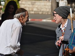 The Meaning of Life - The Tzadiq and the Clown (David Mor) Tags: street religious clown jerusalem orthodox payaso hobo pagliaccio tzadik   tzadikim rightenous    lightminded  zaddiq