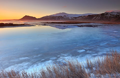 End of Fall - Snfellsjkull glacier, Iceland (orvaratli) Tags: winter mountain lake snow cold ice water grass landscape volcano frozen still arctic snfellsnes arcticphoto
