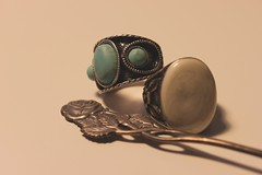 rings (Lanttutohtori) Tags: old blue flower fashion rose vintage spoon retro ring lindex ginatricot