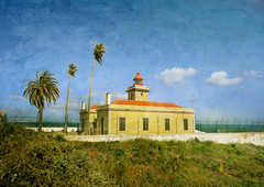 The Ponta da Piedade Lighthouse (s0ulsurfing) Tags: blue light sky cloud sunlight lighthouse holiday color colour texture tourism portugal weather rock clouds contrast square coast rocks heaven skies wind wide steps fluffy wideangle tourist stairway coastal cumulus april coastline algarve humilis 2009 squared nube cliche bold foreground meteorology nephology 10mm flypaper sigma1020 s0ulsurfing pontadapiedade westernalgarve cumulushumilis vertorama pontadapiedadelighthouse