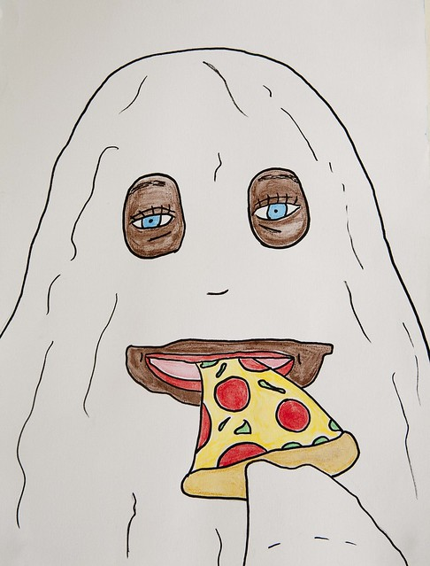 Ghost eating pizza