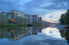 Sea City at Dusk IV (Henrik Sundholm.) Tags: city bridge trees houses sunset clouds docks buildings reflections boats harbor sweden stockholm dusk sverige hdr waterscape sickla hammarbysjstad