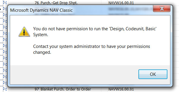 Error Message - You do not have permission to run