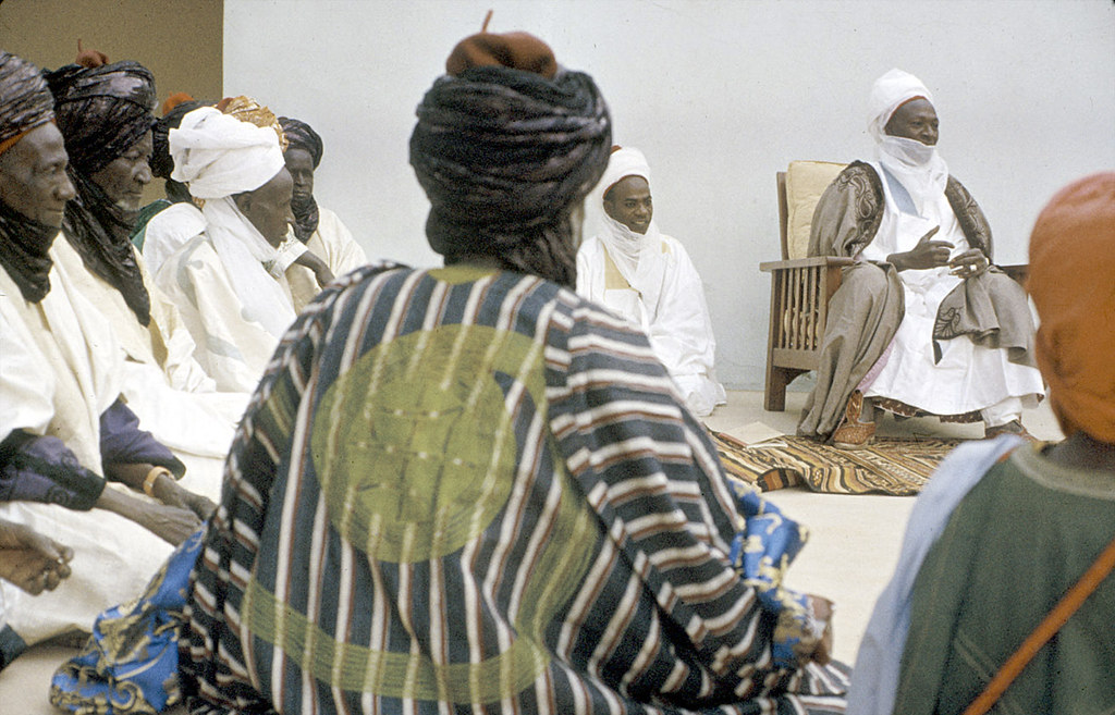 Elite bodyguards of the Emir of Katsina attending a morning greeting ceremony, Katsina, Nigeria. [slide] 1959. eepa_01389