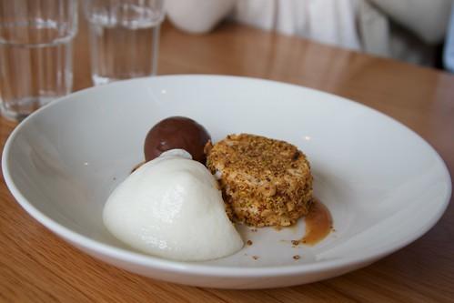 Peanut butter parfait chocolate sorbet, baklava crumbs and orange blossom foam