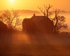 Yorkshire Farmhouse II (rgarrigus) Tags: morning england mist silhouette misty fog sunrise landscape unitedkingdom yorkshire foggy telephoto backlit picturesque contrejour goldenhour backlighting sfumato extraction greatphotographers garrigus robertgarrigus robertgarrigusphotography fewstoncp