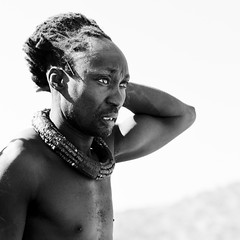 Himba Man With Traditional Hairstyle And Copper Necklace