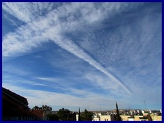 a contrail above jerusalem -     (moshek70) Tags: sky weather clouds israel contrail jerusalem