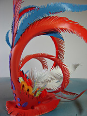 Headdress for Chicklet Trashion Fashion Ensemble (Urban Woodswalker) Tags: sculpture orange usa bird different recycled unique oneofakind ooak workinprogress creative feathers craft wip process technique headdress plastics reuse fabrication repurpose environmentalart plasticbottle artfashion madeinamerica coloful workofart upcycled environmentalactivism tidelaundrydetergent myowndesign urbanwoodswalker trashionfashion maenriquez chicklet2011 swancctrashyfashionshow2011