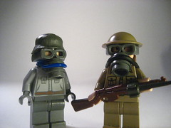 Lego WW1 Gas Mask's (Epac1998) Tags: world brick by one bay war arms lego no bricks mans land british ww1 biplane germans trenches the smle bbtb kar98s