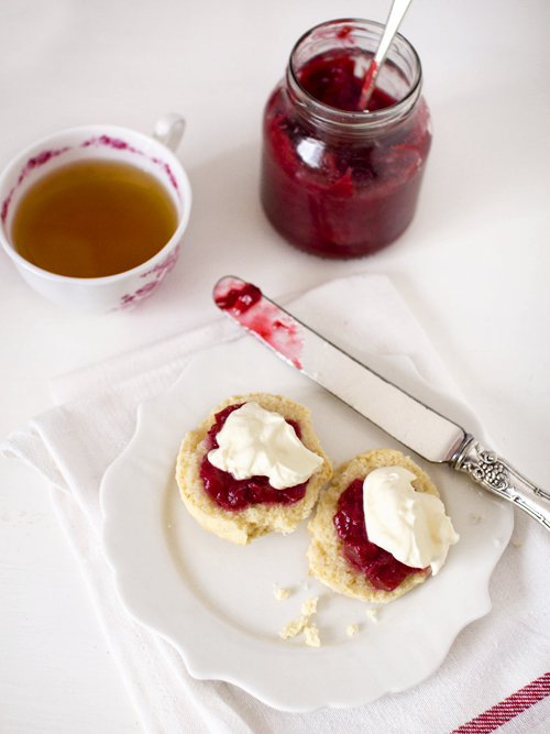 scones with rhubarb and gin jam