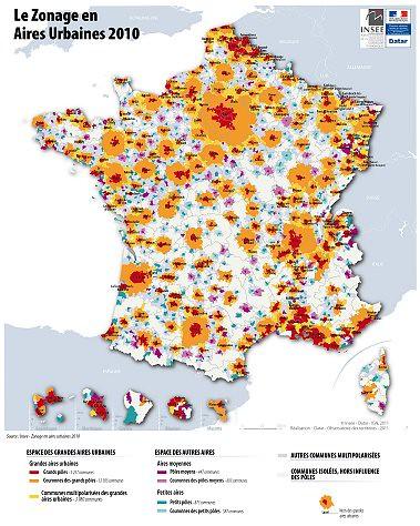 Le zonage en aires urbaines 2010