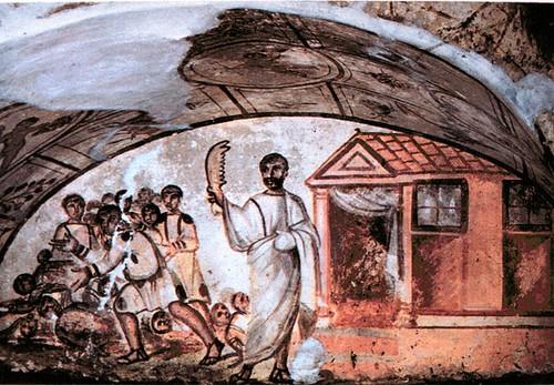 Pintura en Catacumbas de San Sebastián, situada cerca de Roma