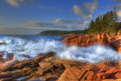 Thunder Hole in Morning Light (Moniza*) Tags: ocean park morning sunset sunrise dawn nikon rocks searchthebest dusk maine explore national acadia thunderhole d90 explored moniza landscapeexhibition photographerschoice~halloffame