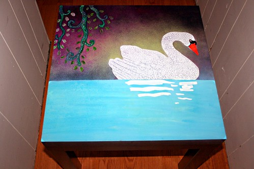 "Swan on 22"" x 22""  Table by Rick Cheadle Art and Designs"