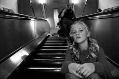 In the escalator (Ggranvik) Tags: portrait england bw london barn underground children unitedkingdom escalator portrett gbr rulletrapp