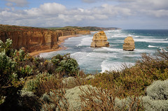 The Two Apostles (ngkokkeong) Tags: ocean plant nature landscape drive waves australia roadtrip greatoceanroad impressive twelve apostles foreground ringexcellence ngkokkeong