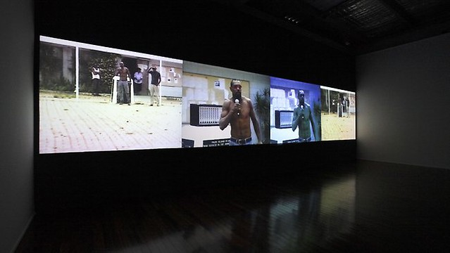 """Tall Man"", Four-channel video installation, 2010. Image courtesy of the artist and Milani Gallery, Brisbane"