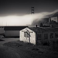 On the Waterfront (~ superboo ~ [busy busy]) Tags: road fog marina buildings focus waterfront antique marin storage goldengatebridge historical aged toned sausalito gravel fortbaker tiltshift