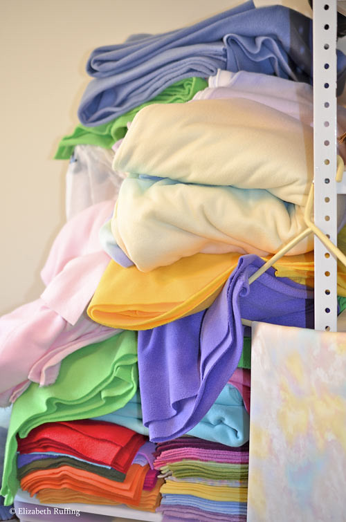 Fleece, assorted colors, by Elizabeth Ruffing