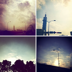 Quadtych (brandonhuang) Tags: street sky cloud sun building apple lamp clouds skyscraper square streetlamp squares 4 taiwan 101 taipei taipei101 app quadtych iphone tych iphone4 brandonhuang iphoneography instagram