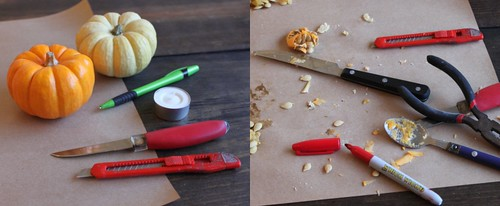 tools for mini pumpkin votives