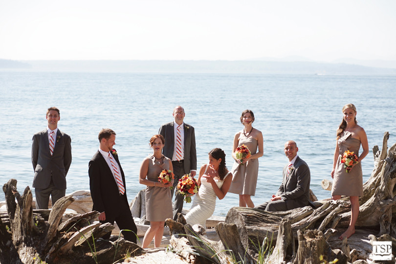 Wedding Party on Beach in Driftwood