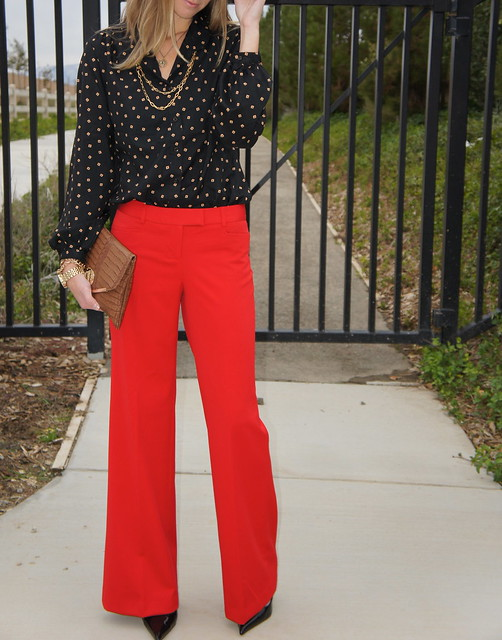 Red dress pants outfit