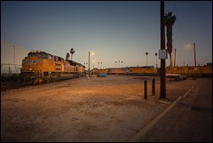 West Anaheim Yard and Wye -- 6:00am (greenthumb_38) Tags: railroad morning train earlymorning trains unionpacific locomotive anaheim sled gp switcher wye emd gp151 canon40d westanaheim jeffreybass loa32 costamesajob remotesled anheimwye loa25 loa32r