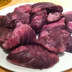 A plate of pig's cheeks marinated in wine