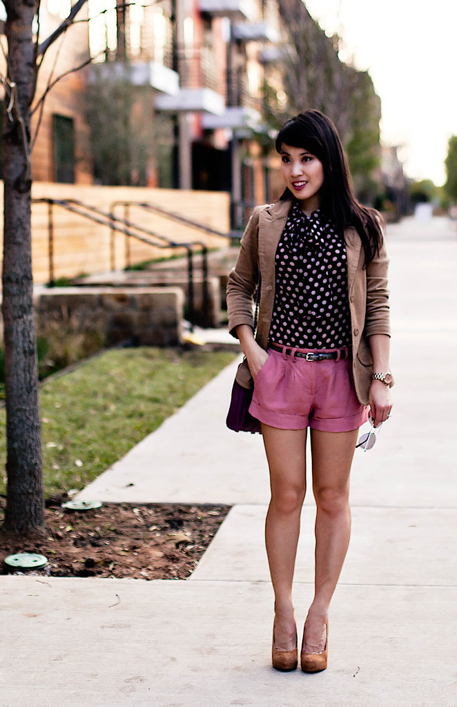rampage corduroy blazer, forever 21 polka-dot pussybow blouse, forever 21 pink woven shorts, charlotte russe metallic silver belt, bakers wild pair tan suede pumps, 39dollar glasses aviator sunglasses, rebecca minkoff magenta mac clutch, michael kors rose gold small runway watch mk5430