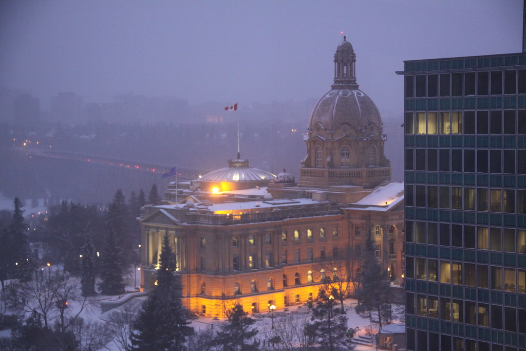 Winter at Alberta's Legislative Assembly Building in Edmonton