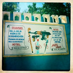 Warning in Burao hotel Somaliland  thru Iphone Hipstamatic (Eric Lafforgue) Tags: africa distortion color apple outdoors graffiti photo war exterior application photograph terrorism afrika somali 2863 somalia chromatic somaliland afrique iphone hornofafrica muralpainting aberration burco somalie achromatism burao britishsomaliland somali somailand   szomlia   hipstamatic soomaaliland