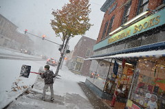 Eat, Sleep, Read, Shovel. (annburlingham) Tags: autumn winter snow ny retail mainstreet snowy bookstore sidewalk independent storefront winner snowing perry smalltown shoveling westernnewyork tcf burlinghambooks thechallengefactory indiebound urbansnowscene