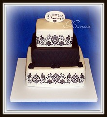 Black & White Damask Birthday Cake (Slice of Sweet Art - Custom Cakes) Tags: birthday wedding roses white black cake engagement chocolate anniversary vanilla celebrate fondant damask gumpaste sugarpaste diamondpattern chocopan satinice marisenoj mariseni marseni oreocreamfilling