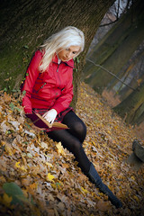 (v.maxi) Tags: wood autumn red woman tree girl forest d50 leaf nikon boots herbst blondehair blatt magyar wald baum leatherjacket fa piros sz erd levl szke lny n