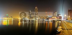 Misty Rijnhaven - Rotterdam (DolliaSH) Tags: city longexposure light haven holland color tower water colors night canon reflections river lights noche rotterdam europe nightshot nacht harbour neworleans nederland thenetherlands le 7d montevideo kpn maas nuit kopvanzuid notte stad noch zuidholland 1755 southholland luxortheater rijnhaven nachtopname manhattanaandemaas canonefs1755mmf28isusm floatingpavilion canoneos7d dollia sheombar dolliash