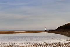 Along the beach (Etrusia UK) Tags: uk greatbritain autumn sea sky lighthouse reflection beach water wales clouds geotagged sand nikon britishisles zoom unitedkingdom britain sandy sigma wideangle bluesky f16 gb ripples sanddunes pictureperfect flintshire talacre riverdee d300 sigma1850mm 1850mm sigmalens fastlens pointofayr talacrebeach 1850mmlens nikond300 sigma1850mmlens geo:lat=53356858321794405 geo:lon=33309826864624483