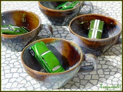 Spring, cups and wheels (tonywheels) Tags: green cup car spring wheels vert voiture hotwheels printemps diecast tasses