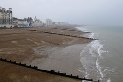 Eastbourne on a rainy day. (Patrick Mayon) Tags: sea england mer mist seascape beach rain fog canon landscape coast rainyday foggy pluie eastbourne angleterre paysage plage brouillard s90 powershots90