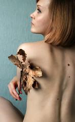 Oak leaf (alena.melenteva) Tags: blue autumn portrait people woman brown girl beauty face yellow female nude back leaf birthmark oak model eyes profile gaze dorsum