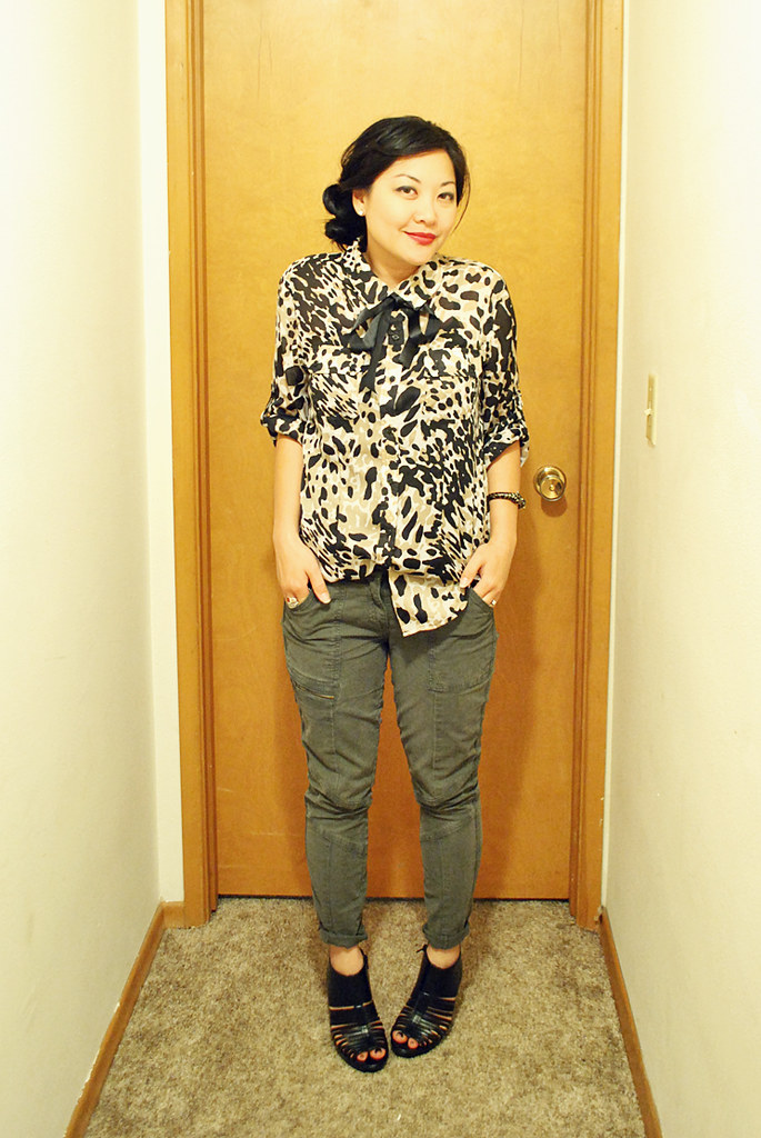 Outfit - Animal Print Blouse - Ribbon Bow - Cargo Skinny Pnts - Heels