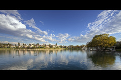 a beautiful day (Eric 5D Mark III) Tags: california sky usa cloud house lake reflection tree water canon landscape photography scenery village view unitedstates ripple ducks wideangle lakeside orangecounty irvine ericlo ef14mmf28liiusm eos5dmarkii