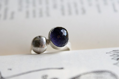 Iolite and Desert Stone Stacking Rings