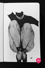 Moleskine illustration #13: Fishnet. (Lex Wilson) Tags: flowers ballet woman colour moleskine floral lines illustration pen ink typography artwork ballerina crossing graphic legs drawing tights doodle lettering colourful tangle leggings penink zentangle lexwilson