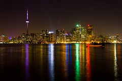 Toronto Colours (dtstuff9) Tags: city lake toronto ontario canada color colour tower skyline night skyscraper cn buildings landscape island lights boat centre center algonquin ward wards