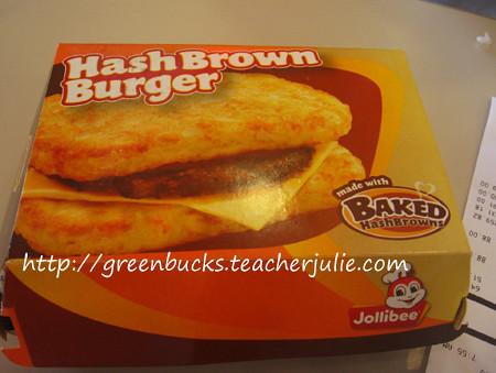 Jollibee Hash Brown Burger